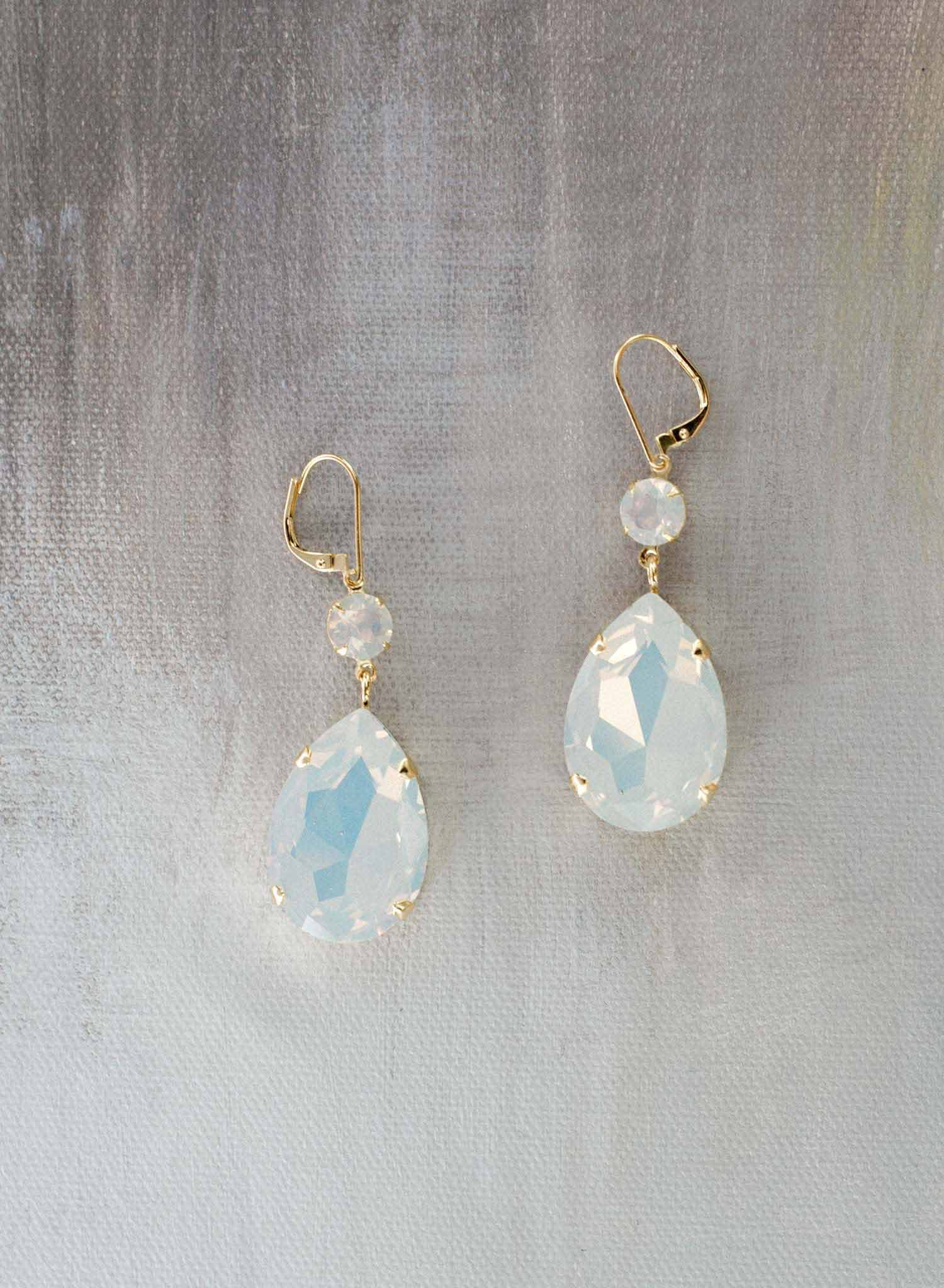 Simple oversized pear crystal earrings - Style #9024