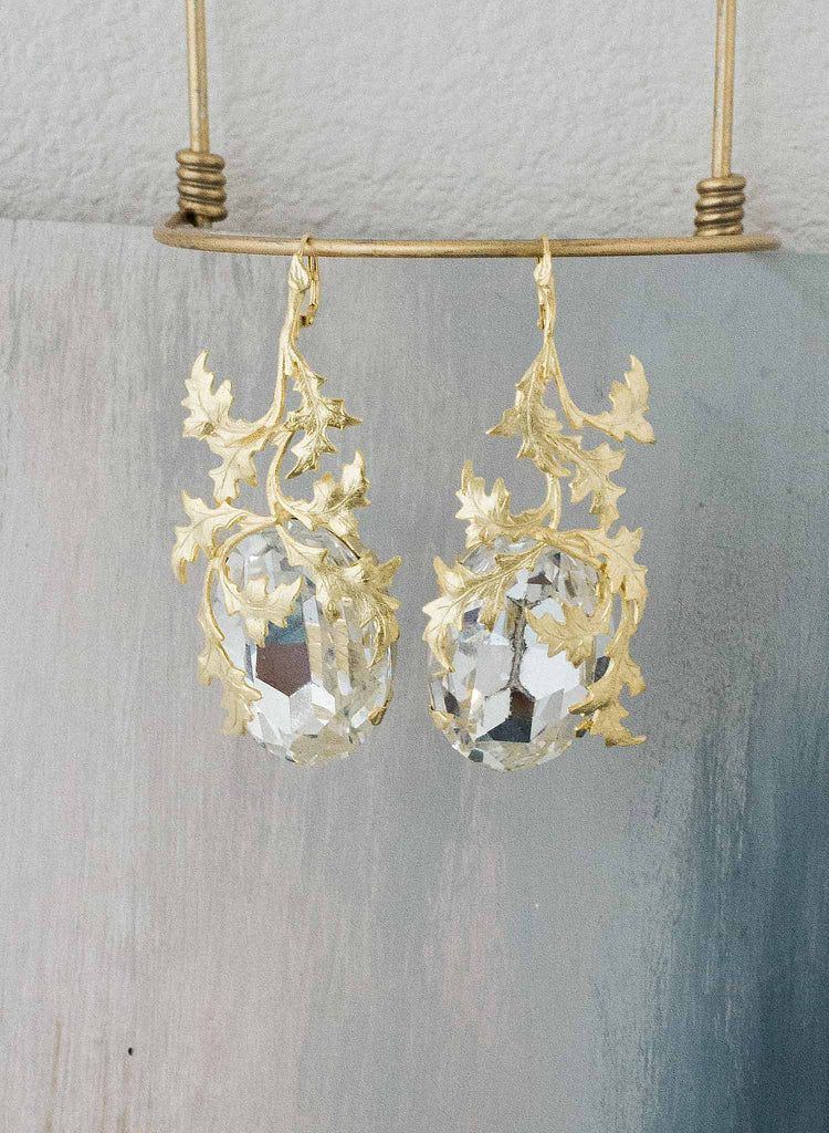 Enraptured crystal and gilded vine earrings  - Style #9027
