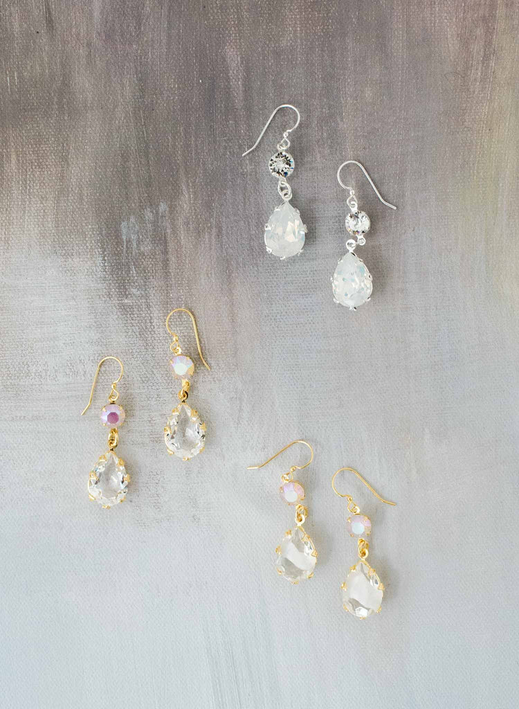 Classic pear crystal drop earrings - Style #9030