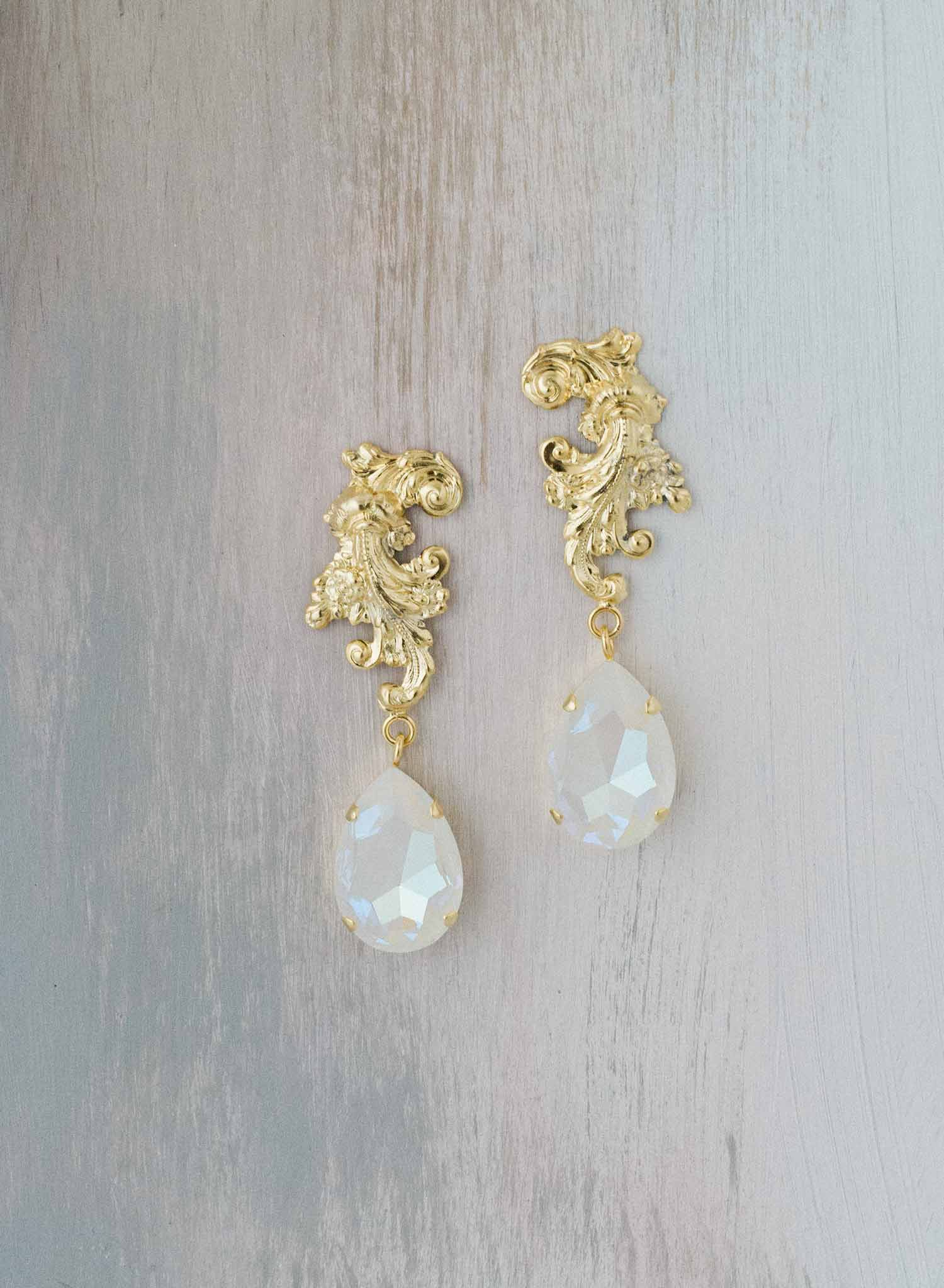 Flourish crystal drop earrings - Style #9031