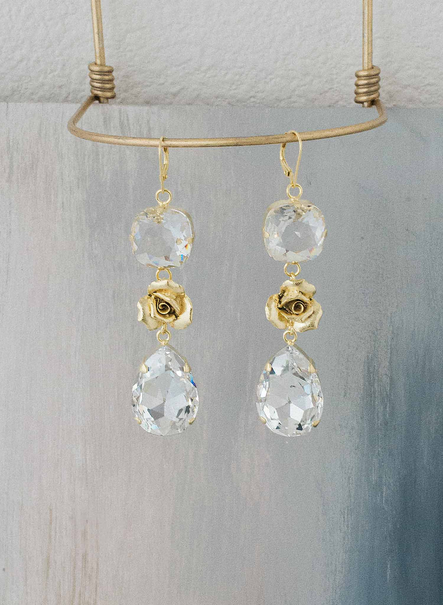 Princess rose chandelier earrings - Style #9034