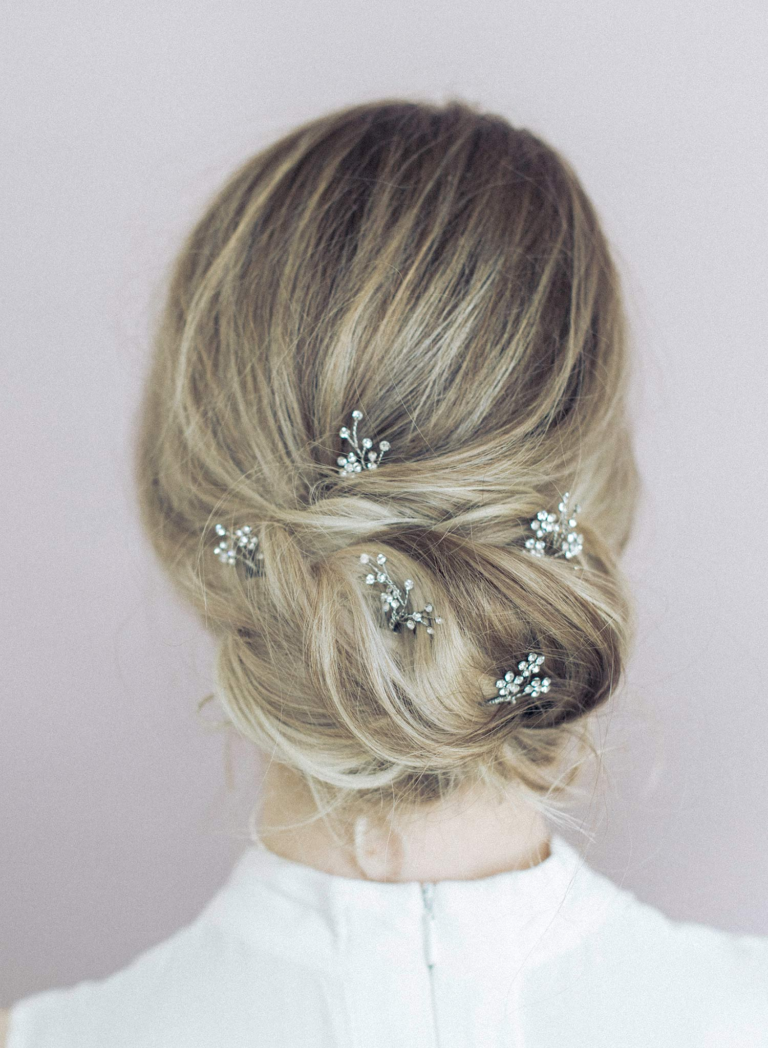 Dainty rhinestone blossom hair pin set of 5 - Style #904