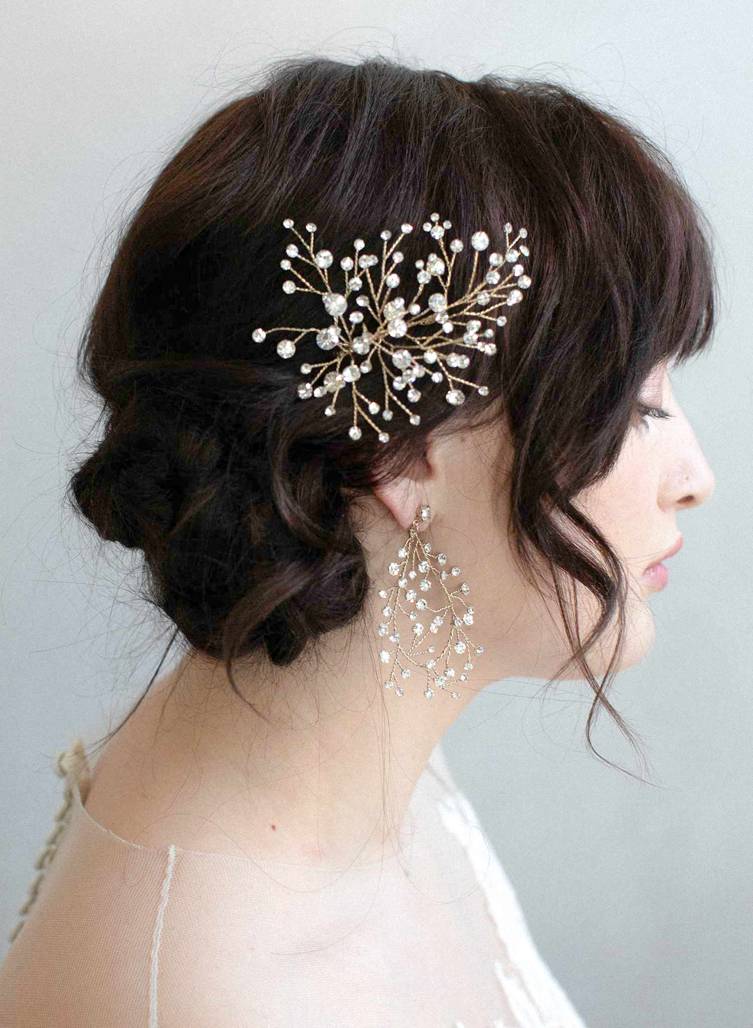 Rhinestone bursting bouquet hair pin - Style #909