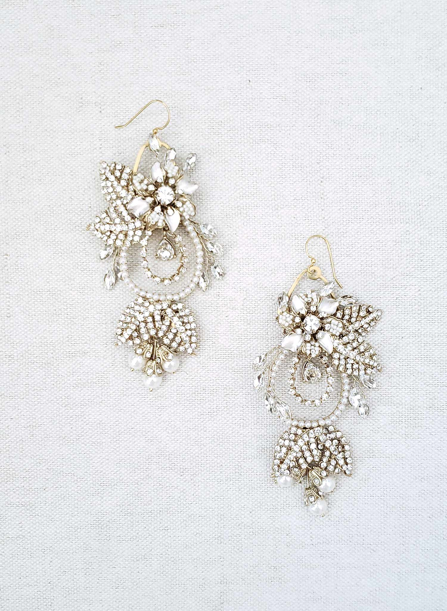 Regal gold flower and leaf chandelier earrings- Style #910