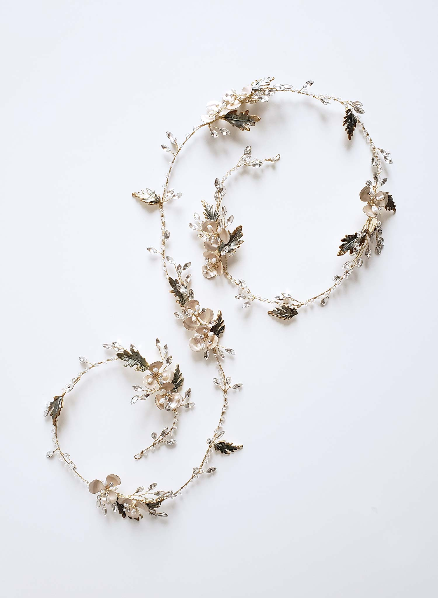Extra long antique leaf and blossom hair vine - Style #915