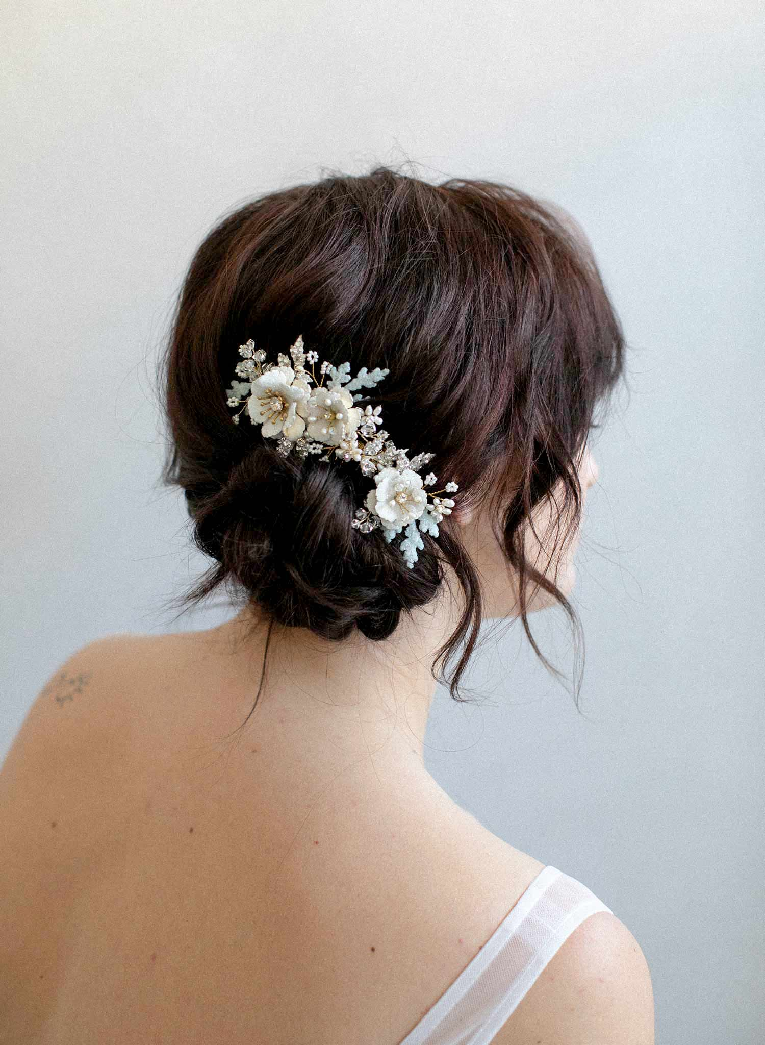 Sugared floral hair comb with dusty miller leaves - Style #921