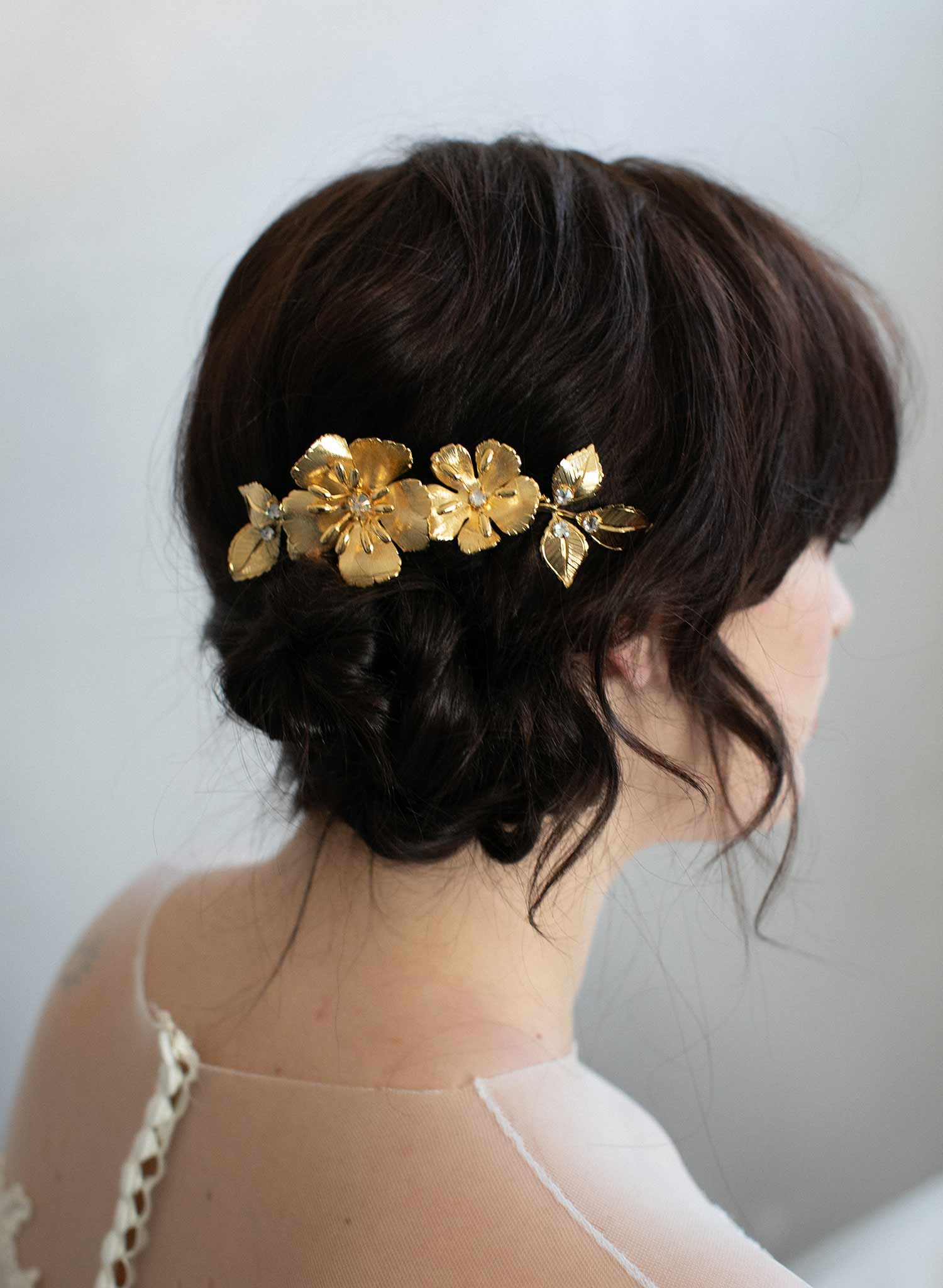 Gilded double flower hair comb - Style #923