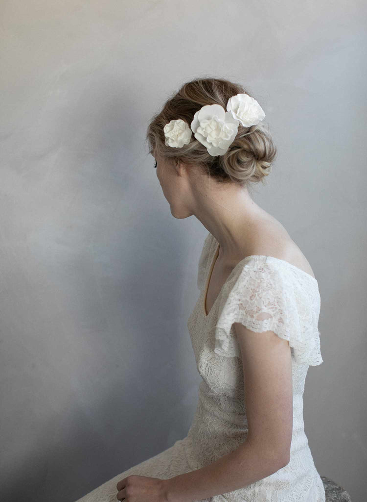 silk flowers, silk flower set of pins, bridal hair pins, silk flower bridal accessory, floral hair pins, twigs and honey