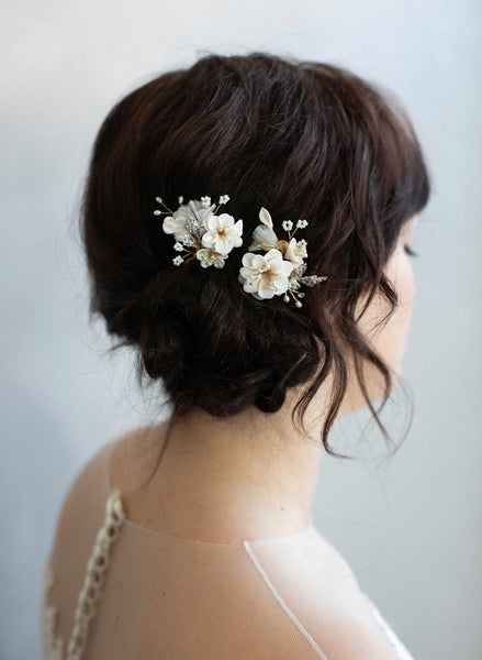 Creamy blossom hair pin set of 2