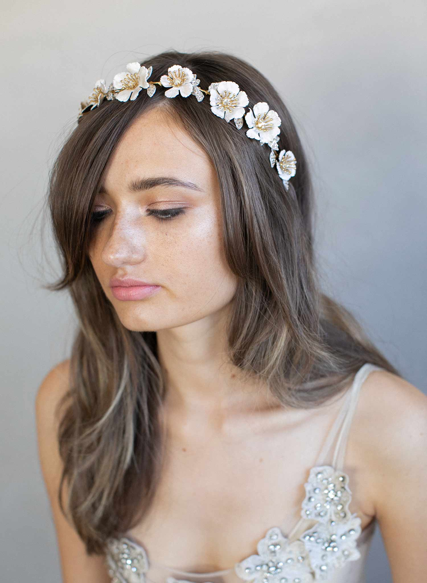 Bridal Floral Headband White Patina Flower Crown Style 926