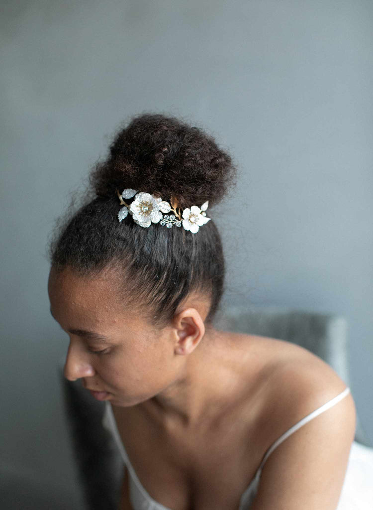 crystal encrusted headpiece, crystal bridal headpiece, bridal floral hair accessory, crystals, floral hair accessory, twigs and honey