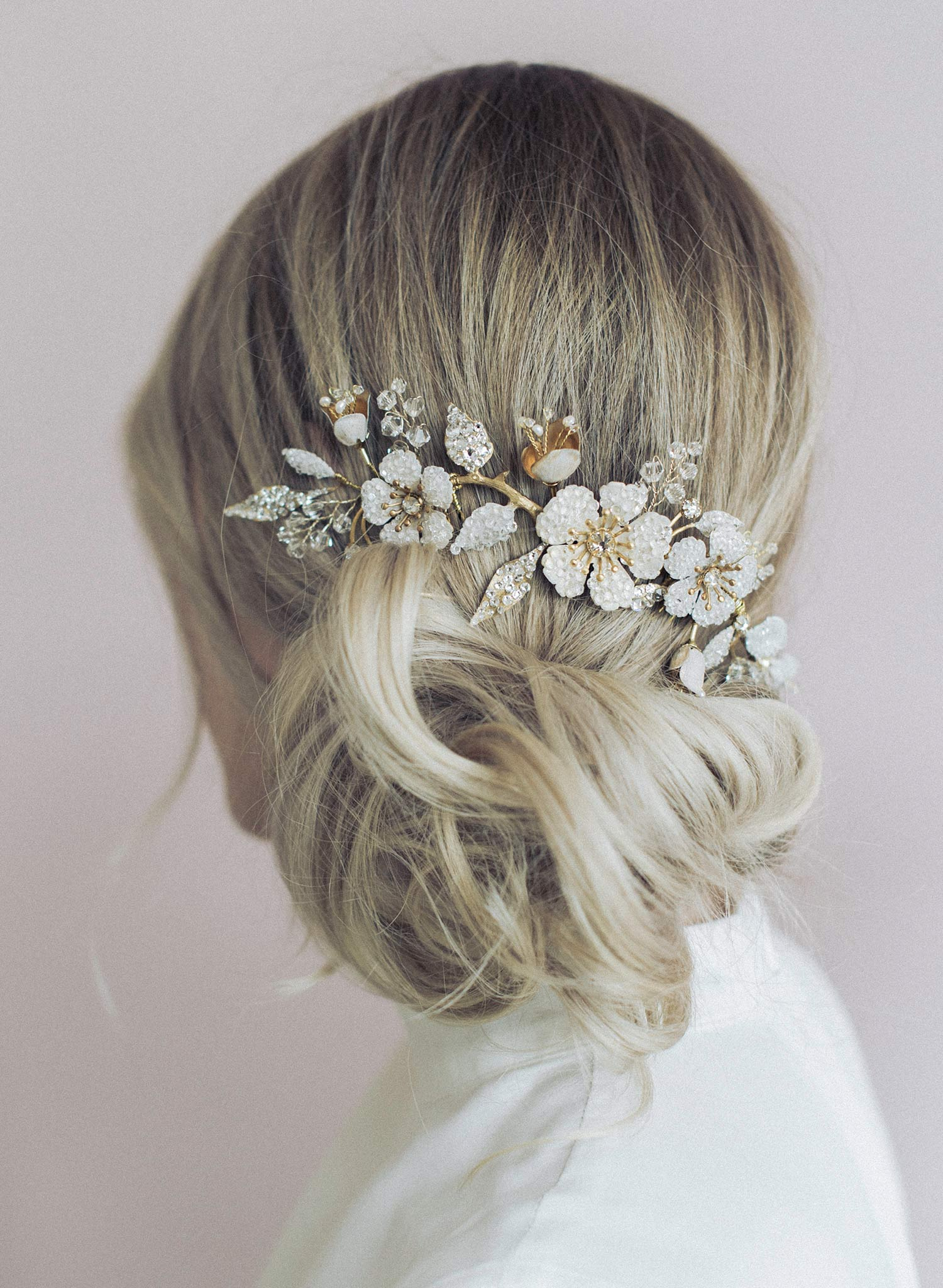 Crystal encrusted flower and bud headpiece - Style #930
