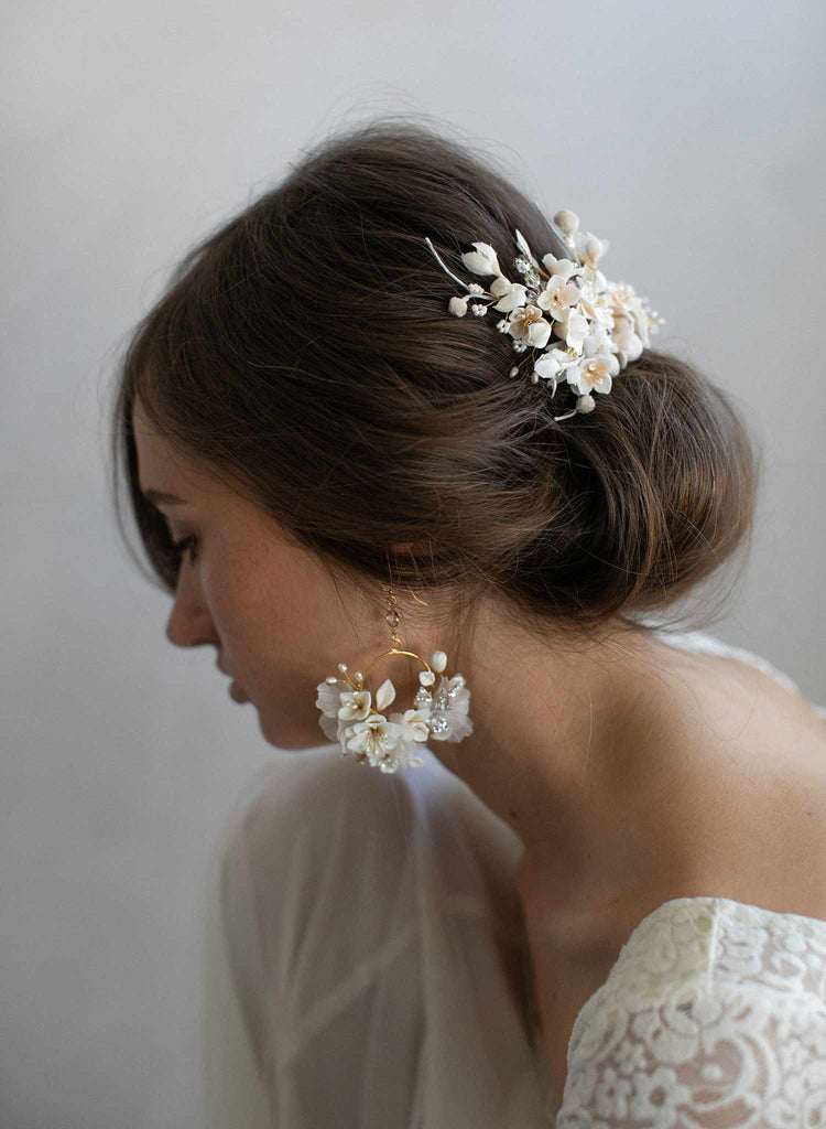 floral bridal headpiece, floral headpiece, bridal hair comb, clay flower headpiece, clay flowers, twigs and honey, bridal hair accessory