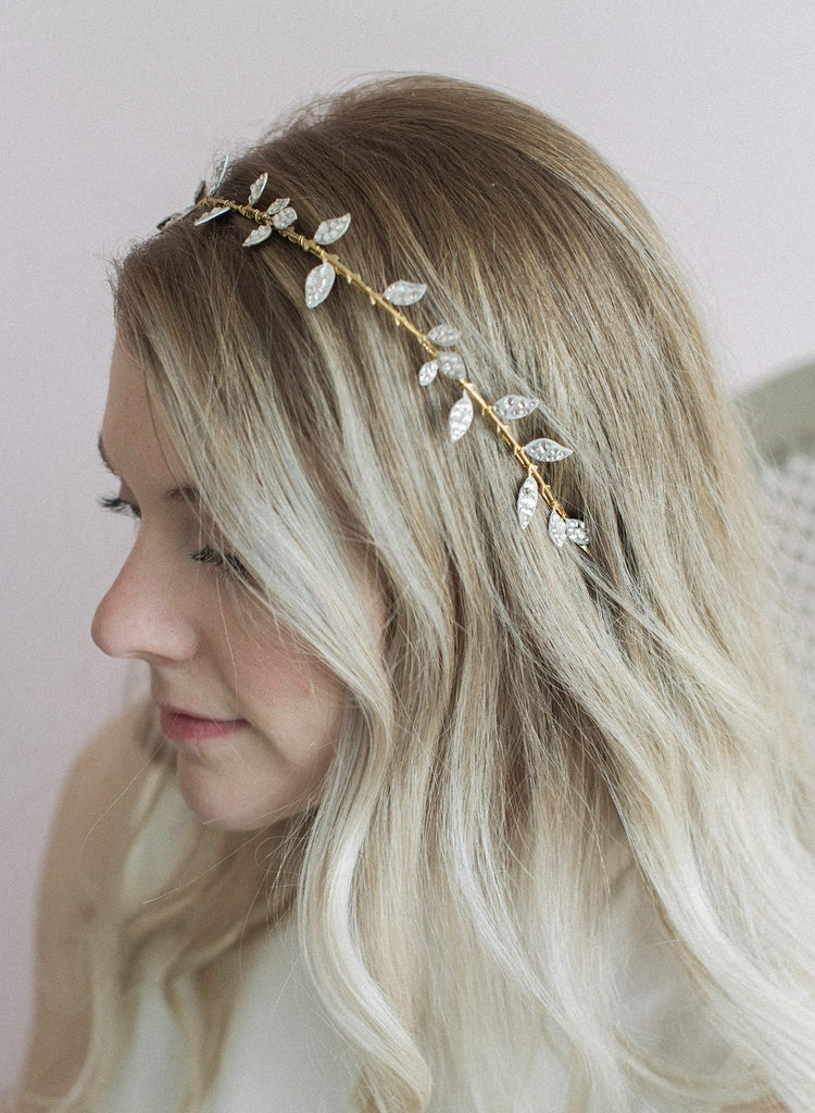 crystal headband, crystal leaf headpiece, bridal headband, wedding hair accessory, headband, twigs and honey, headpiece