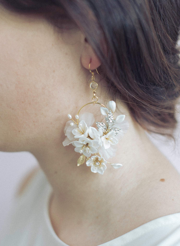 floral bridal earrings, clay flowers, bridal earrings, bridal accessory, earrings, wedding earrings, twigs and honey