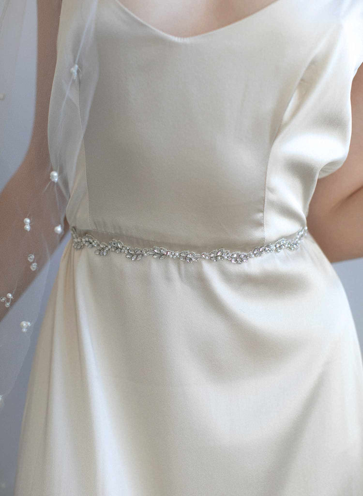Delicate skinny crystal sash - Style #953