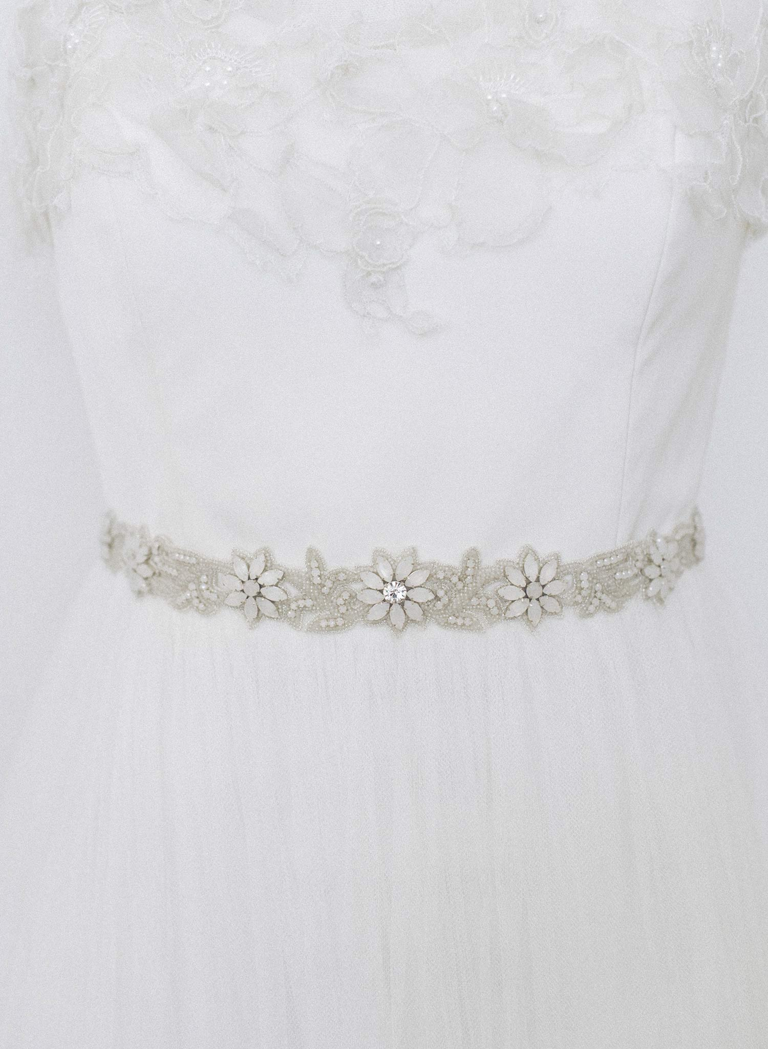 White opal and bead sash - Style #958