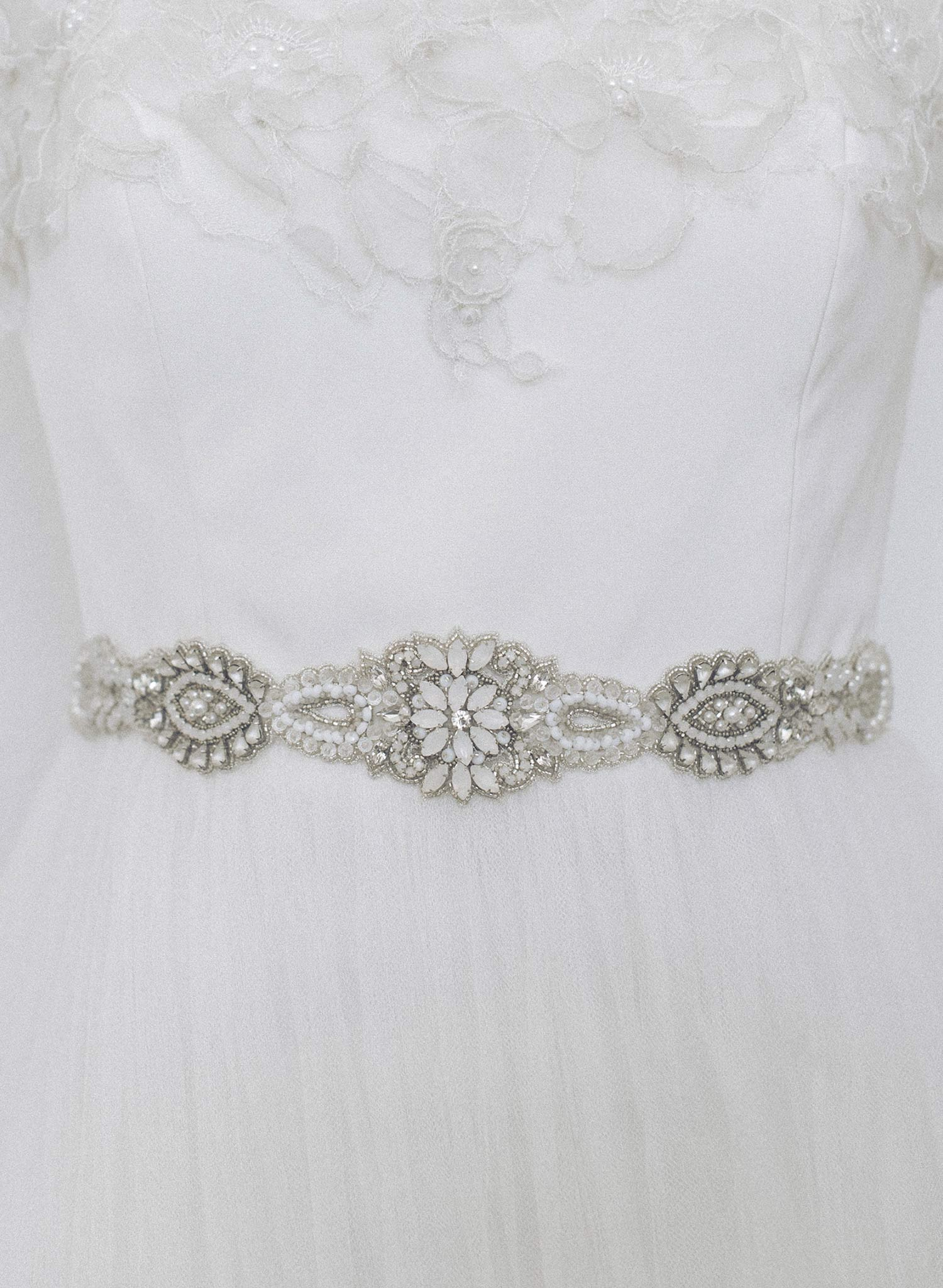 Infinity opal and clear crystal embroidered sash - Style #962