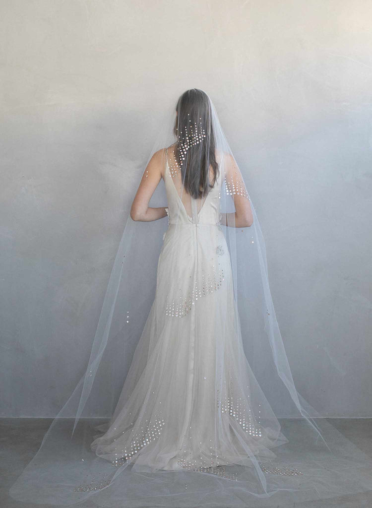 crystal veil, chapel veil, bridal crystal veil, rhinestone veil, wedding veil, twigs and honey, crystal wedding veil
