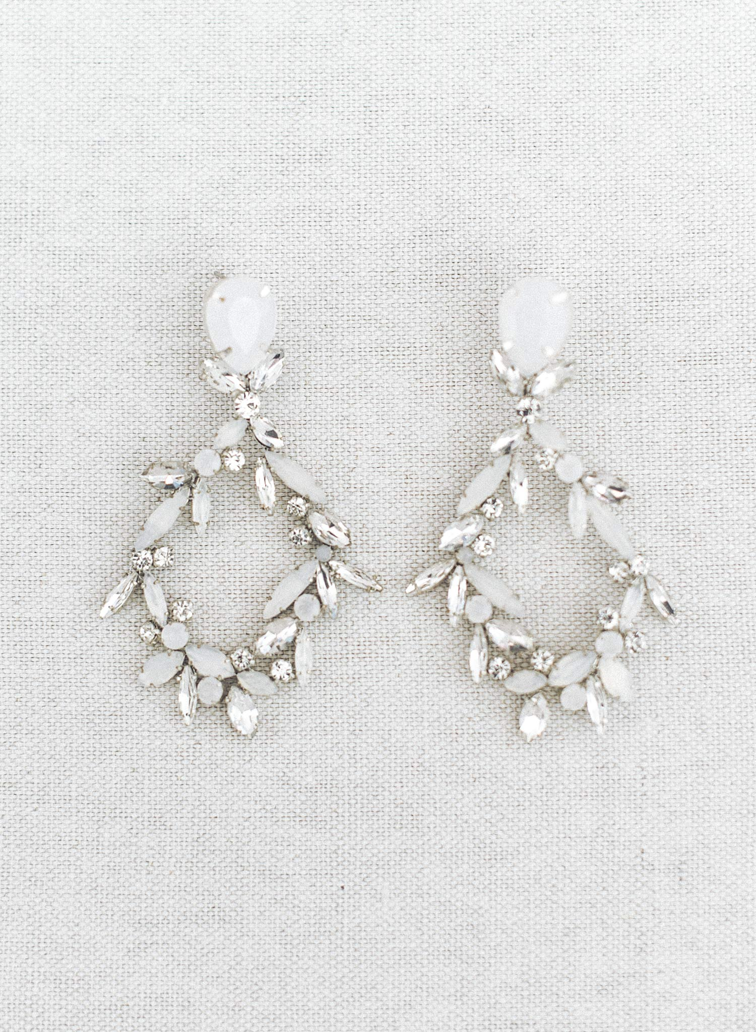 Opal and clear dramatic earrings - Style #972