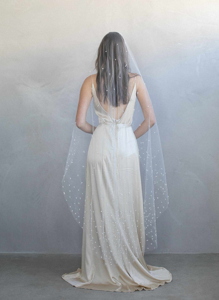 Pearl and sequin chapel train veil - Style #975