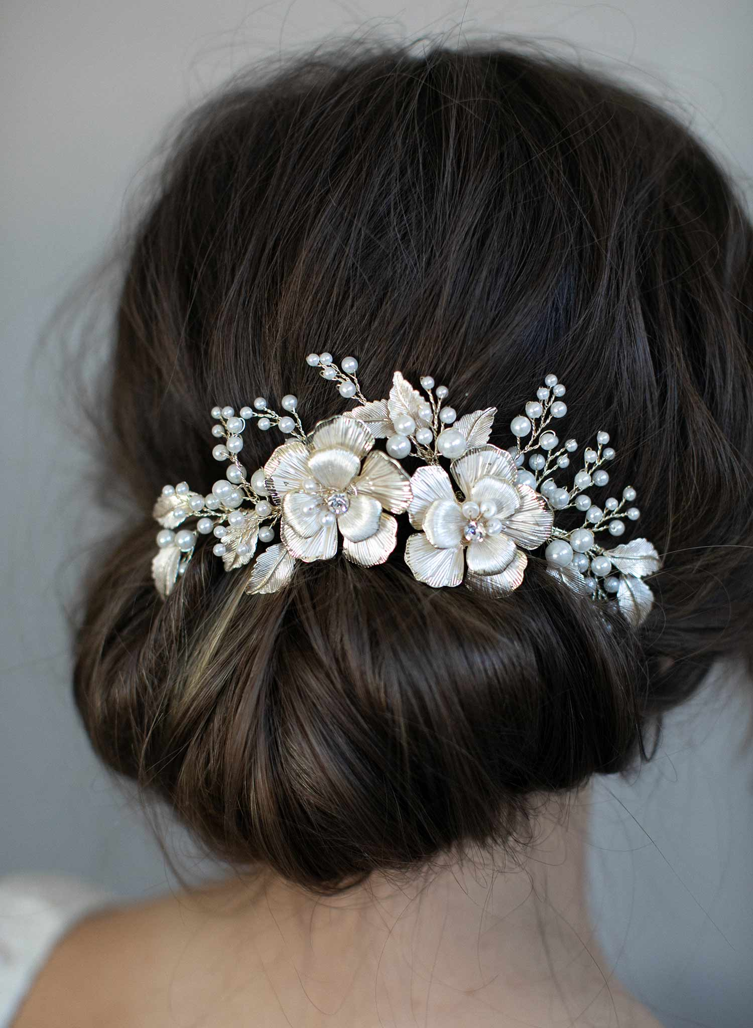 c617aeb1397f Gold flower bridal hair comb - Double flower and pearl spray hair ...