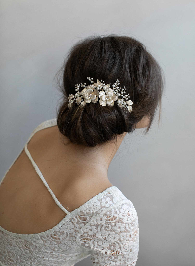 bridal floral hair comb, gold hair comb, bridal hair accessories, wedding headpiece, twigs and honey, pearls