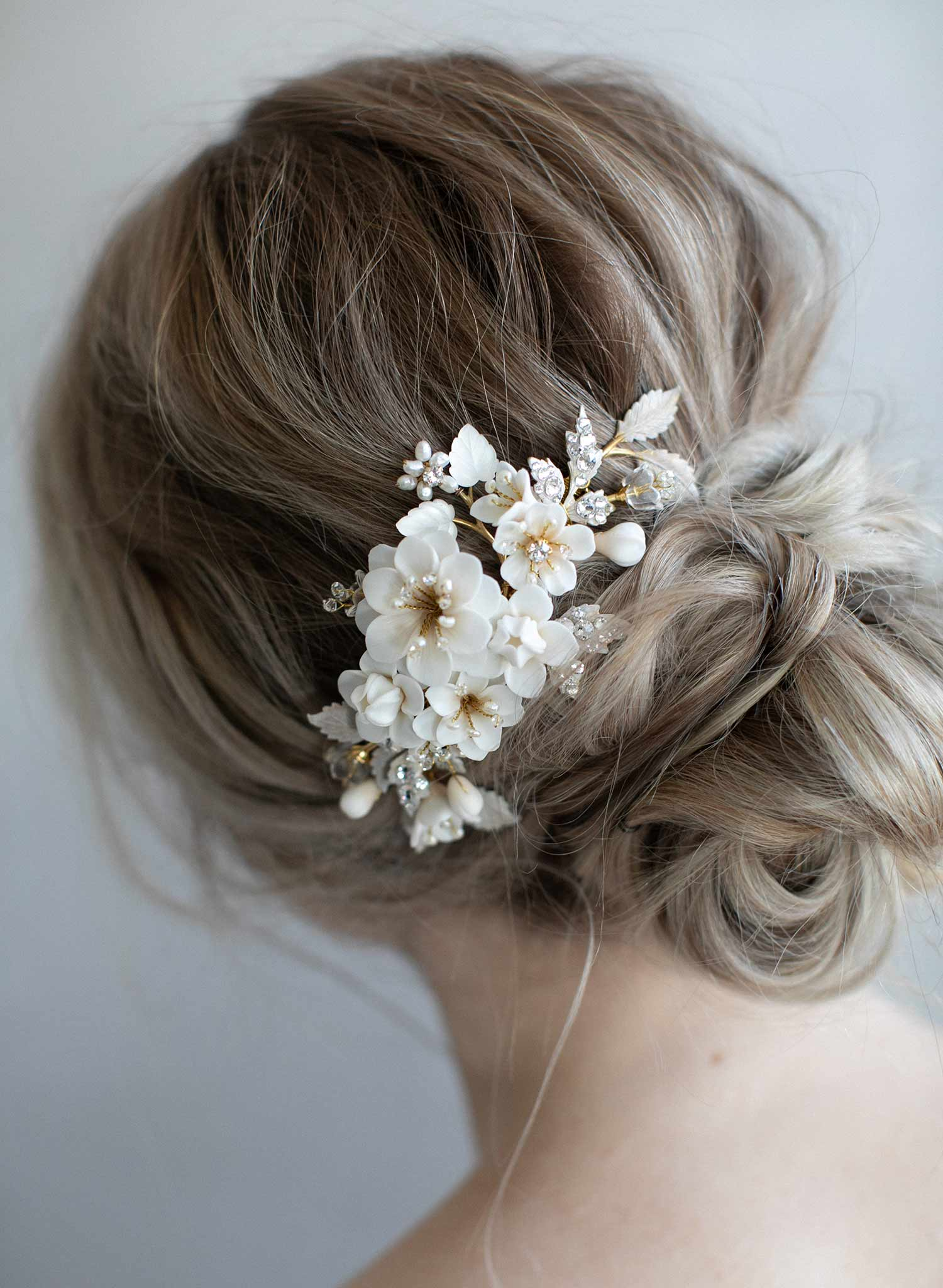 Clay Flower Bridal Hair Comb Creamy Floral Petite Garden Comb