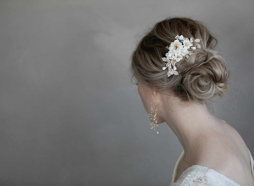 bridal floral hair comb, handmade, twigs and honey, wedding