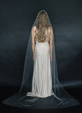 bridal train veil with crystals, wedding veil, twigs and honey, tulle
