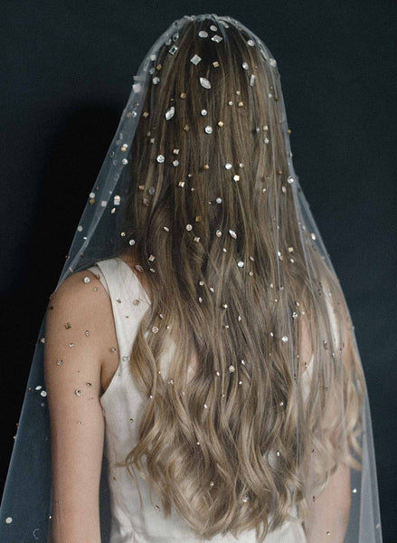 Crystal confetti train bridal veil