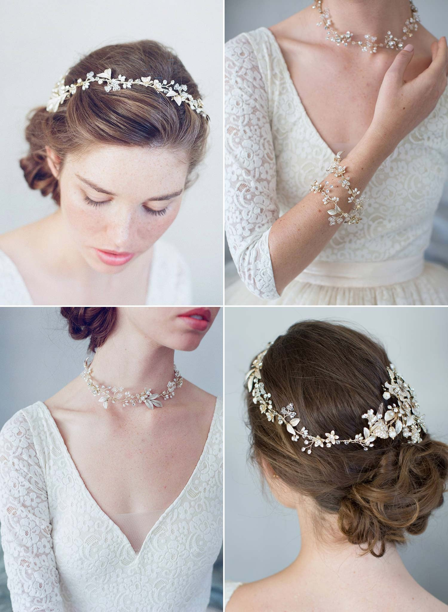 bridal convertible hair vine, necklace, bracelet, twigs and honey
