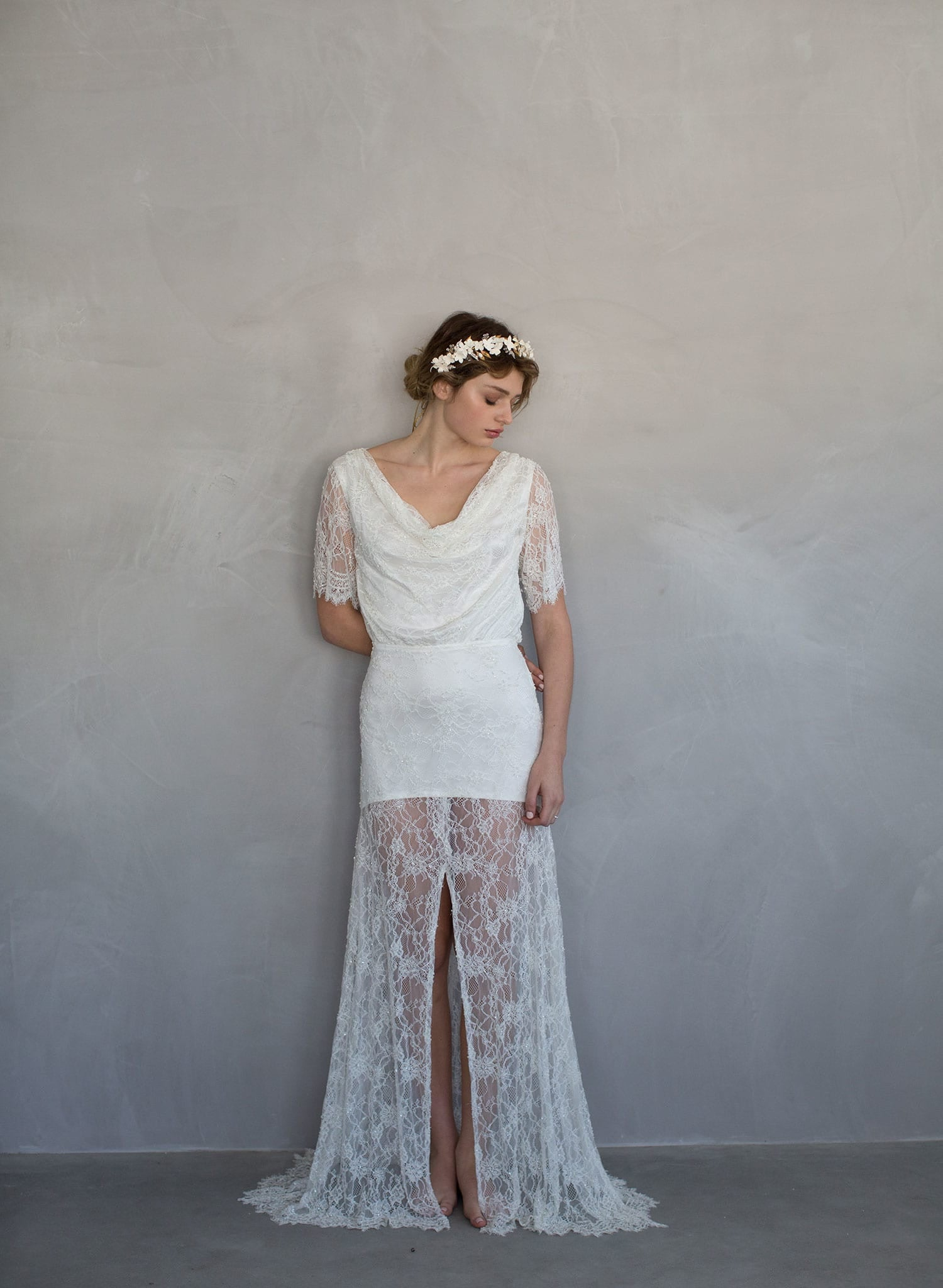 Sugar - Beaded lace, cowl neck bridal gown - TH701 | Twigs & Honey ...