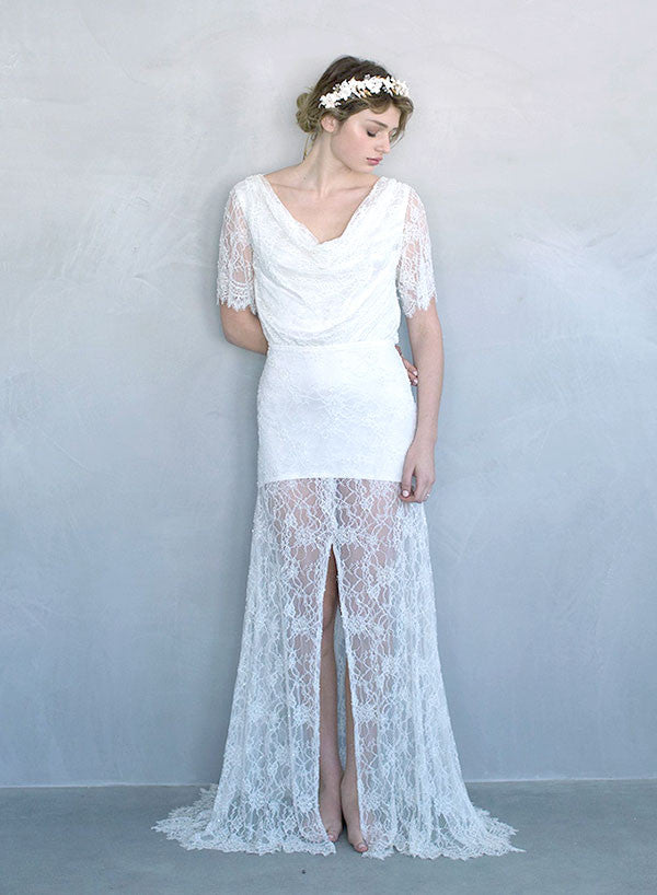 Beaded cowl neck vintage inspired bridal gown, wedding dress, ivory lace, sleeves, high slits, twigs and honey