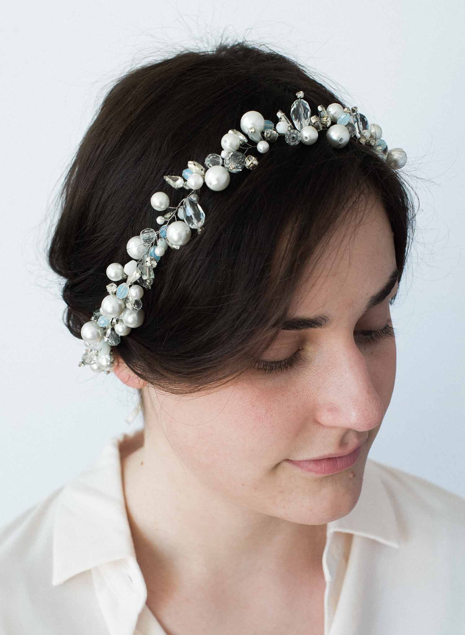 Oversized pearl bead and opals hair vine - Style #9037