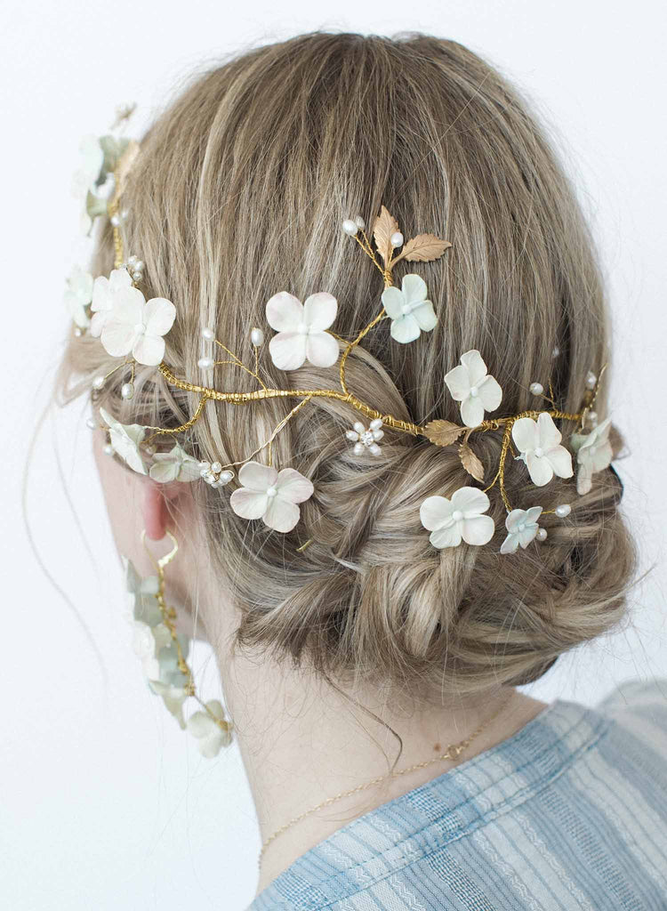 Hydrangea and pearl hair vine - Style #9035
