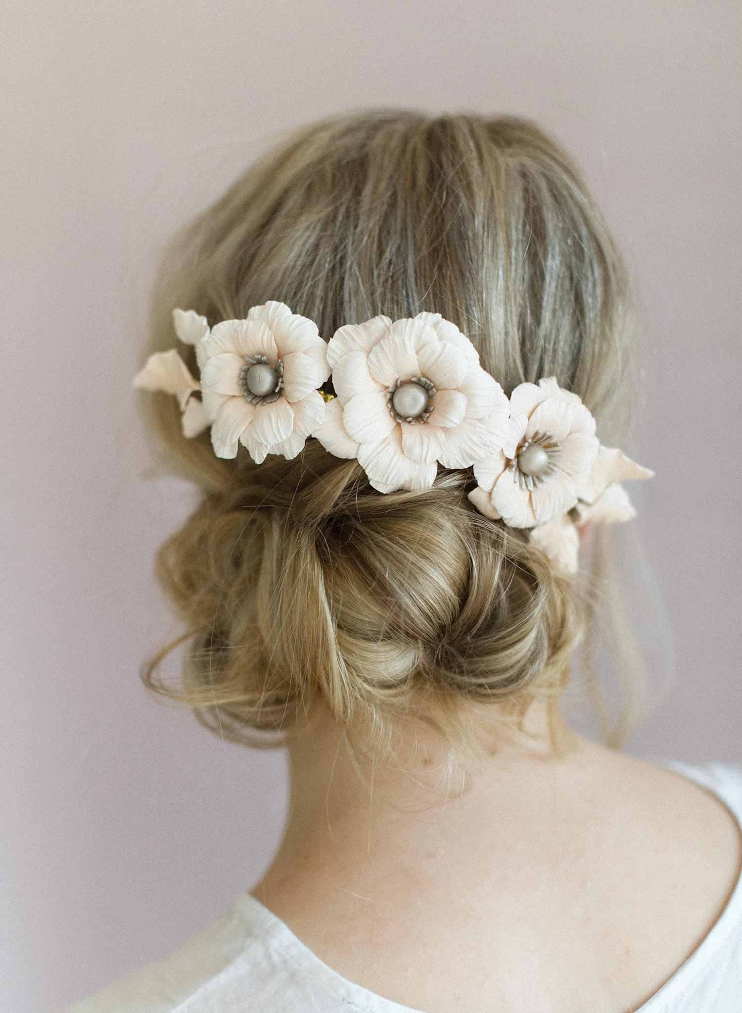 Br Bridal Headpieces Twigs And Honey -  handmade clay flowers bridal headpiece bridal hair comb floral comb floral bridal