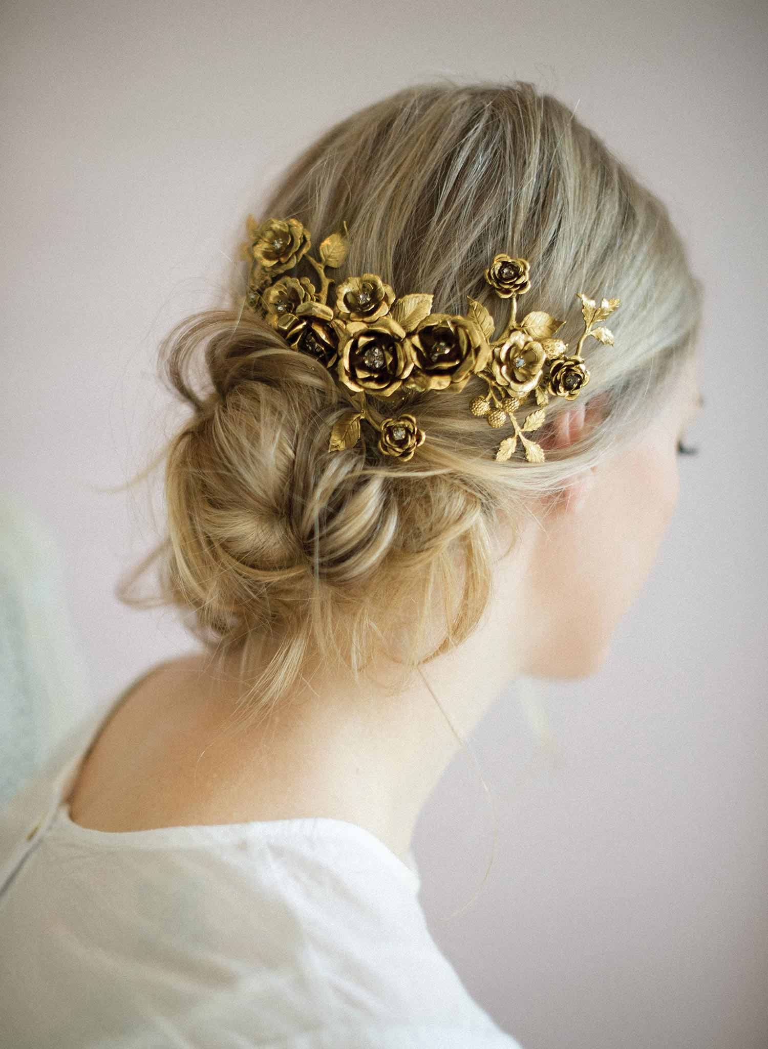 Br Bridal Headpieces Twigs And Honey -  rose bridal headpiece gold plated antique inspired handmade twigs and honey