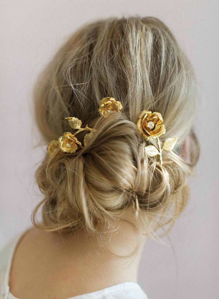 bridal hair pins, rose hair pins, wedding accessory, gold plated roses, twigs and honey