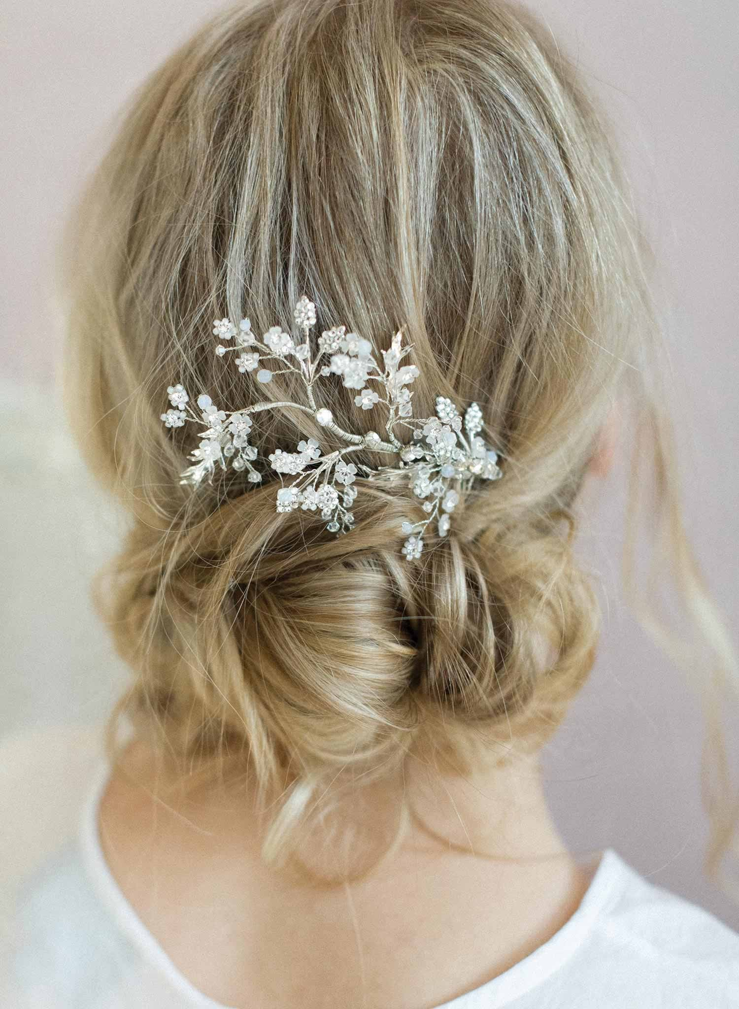 bridal hair comb - shimmering leaf and branch hair comb - style