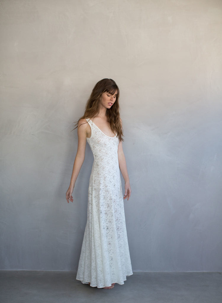 Lace slip dress, beach wedding dress, lingerie, lace gown, ivory, stretch lace, twigs and honey, twigs & honey