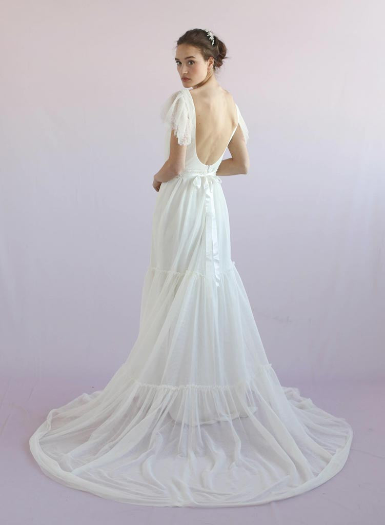 Lily - Flutter sleeve tulle gown - Style #TH025