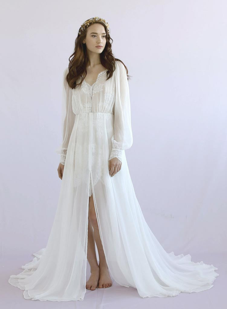 Petunia - Long sleeve silk gown - Style #TH026