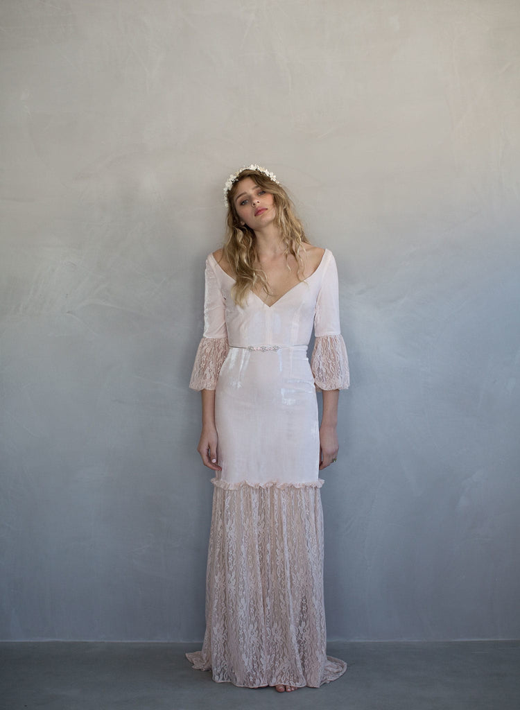 Silk velvet bridal gown, blush wedding dress, twigs and honey, vintage inspired, romantic boho wedding dress