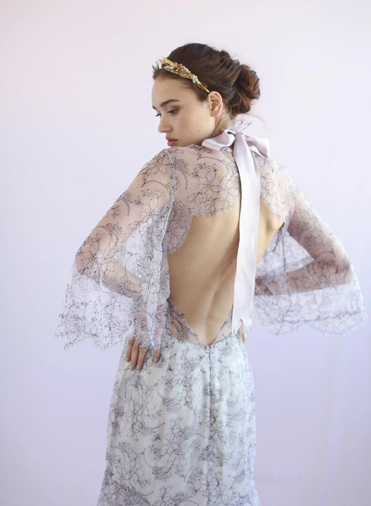 Lilac - Lace collar w/flutter sleeves - Style #TH017
