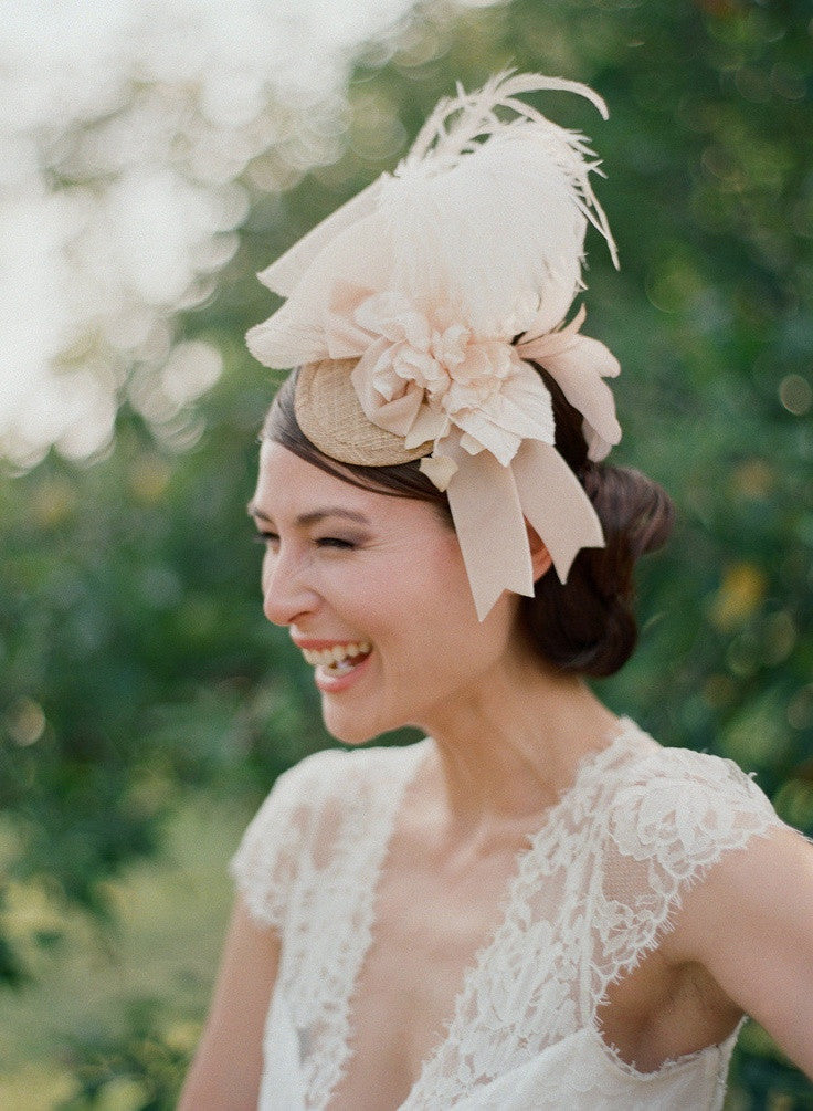 Peachy bridal mini hat