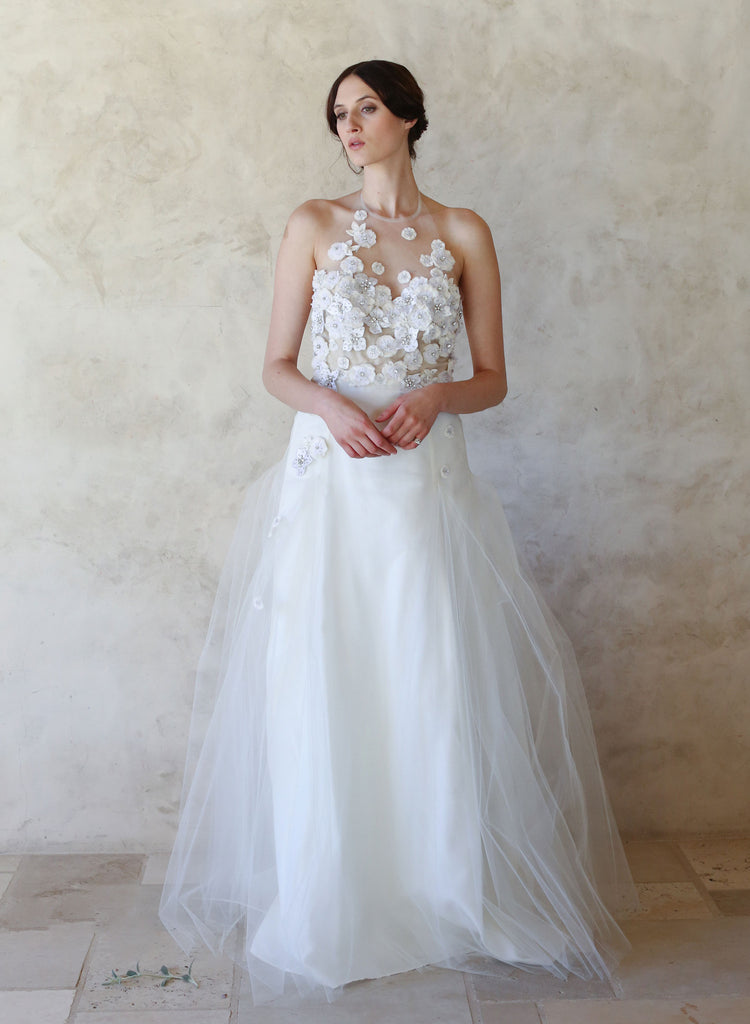 halter top bridal gown, lace embellished, full skirt wedding dress, twigs and honey