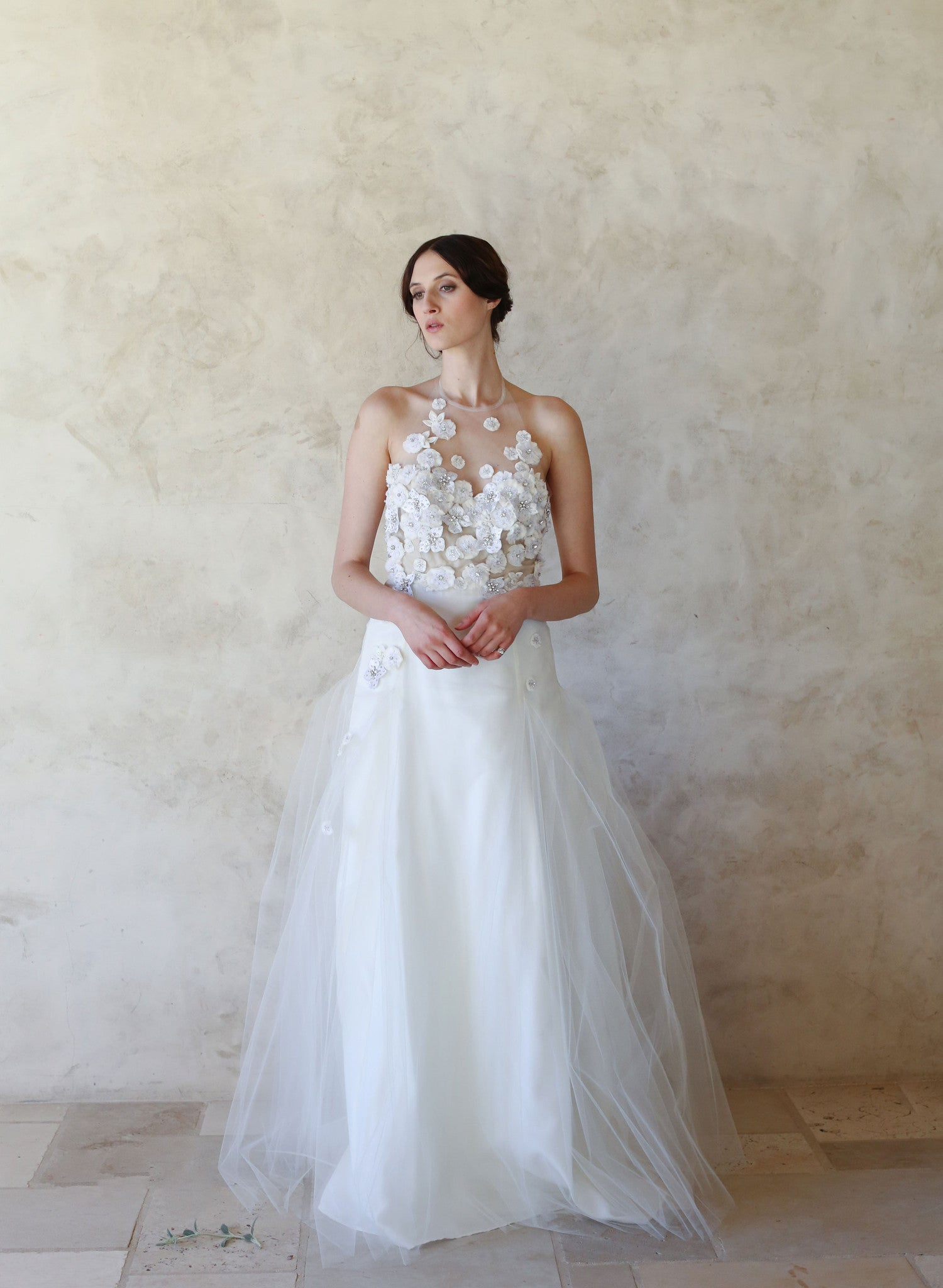 Halter Top Wedding Dresses.Agate Embellished Tulle Halter Gown Style Th009 Twigs