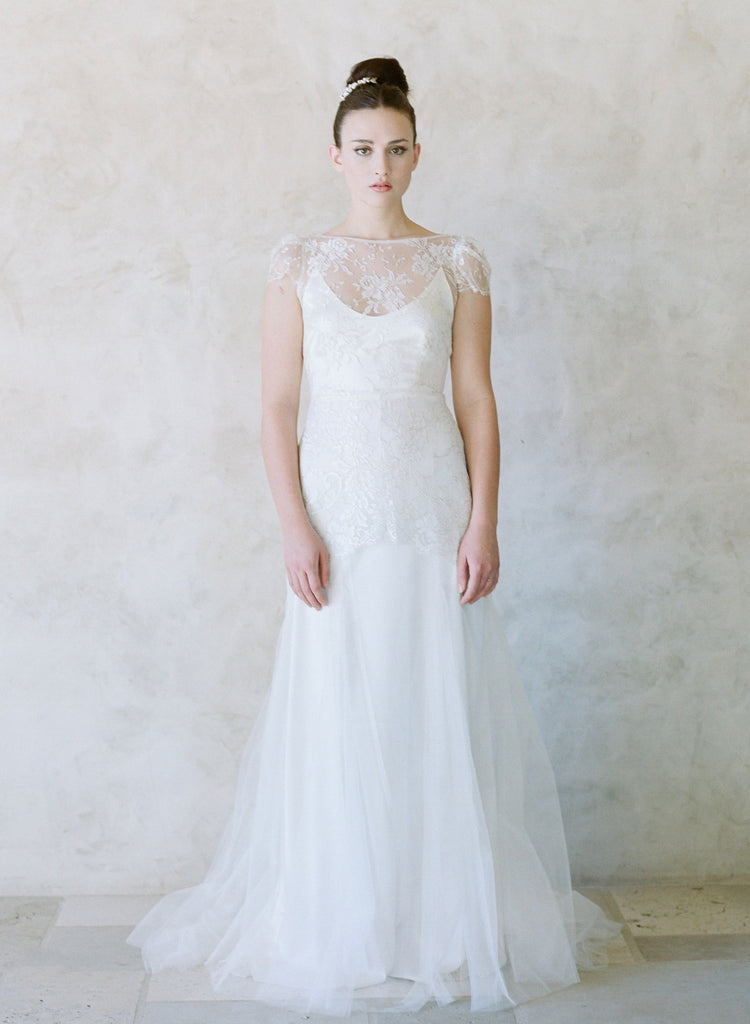 french chantilly lace bridal gown, golden lace, vintage inspired wedding dress
