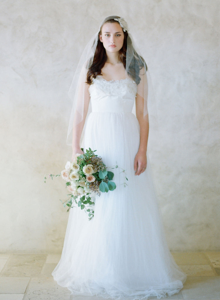 lace embroidered strapless bridal gown, silk tull ballgown, twigs and honey dress